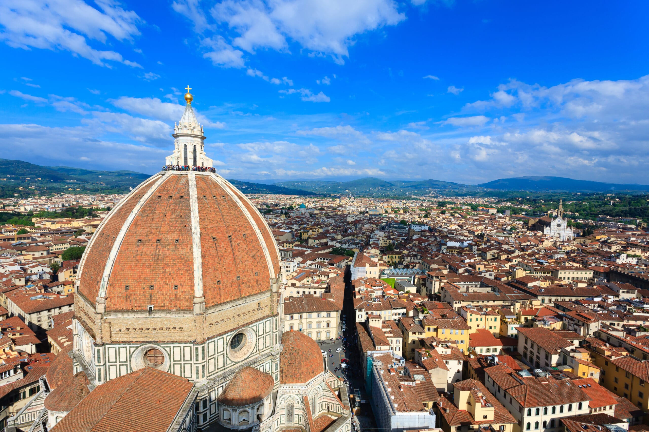 Florence Cathedral from Giotto's bell tower, Italian panorama.